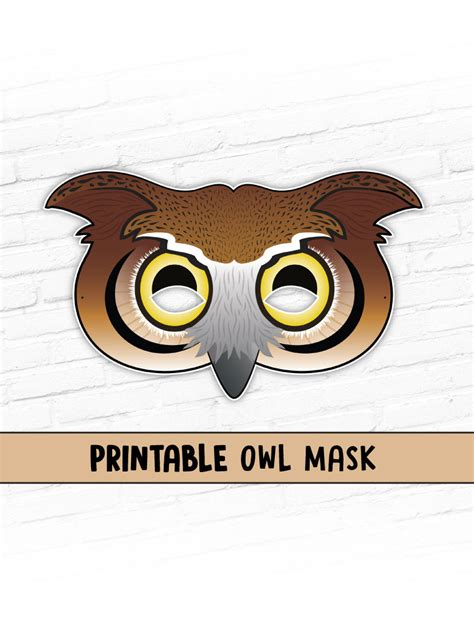 printable owl face mask owl mask great horned owl mask printable mask halloween