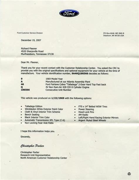 Ford Motor Credit Letter Talladega 1969 Ford Talladega Car Production Car 428 Cj Information On