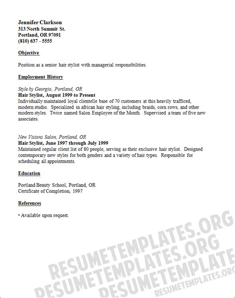 hairdressing resume template cv resume for an hair stylist resume template for free