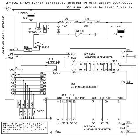 eeprom circuit diagram 27c801 eprom programmer project