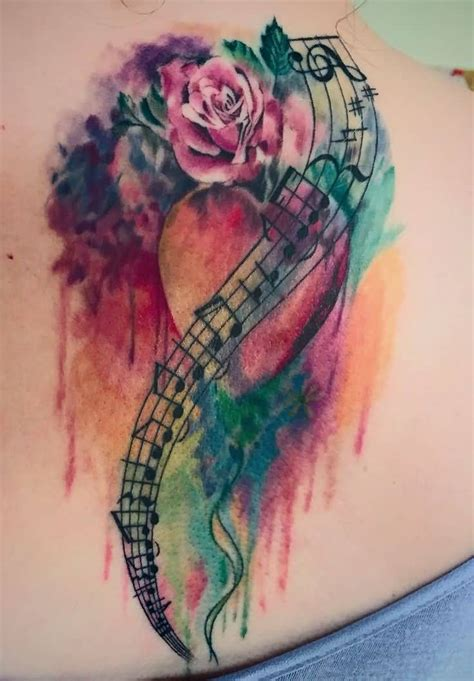 watercolor heart tattoo designs watercolor flower and notes