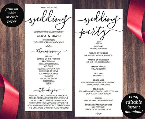 wedding program template printable wedding program