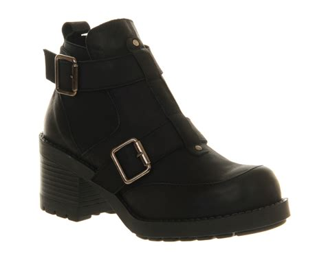 womens office bragg buckle black leather boots ebay