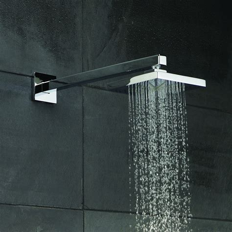 Square Shower Heads by Hudson Reed Minimalist Square Fixed Shower Arm