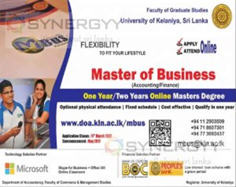 Of Jayawardenapura Mba 2017 by Master Of Business Accounting Finance Degree By