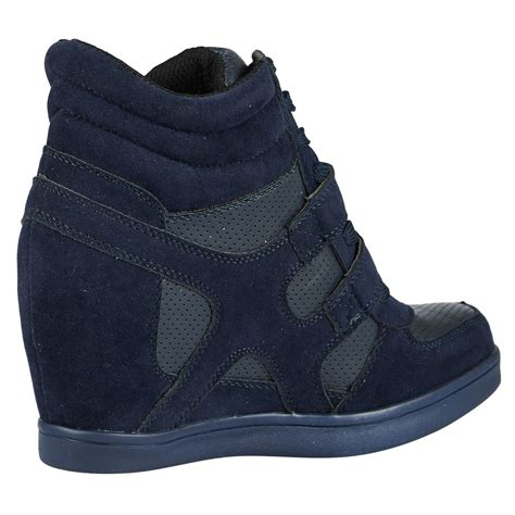 Wedge Heel Lace Up Boots Blue womens shoes wedges trainers lace up high top boots