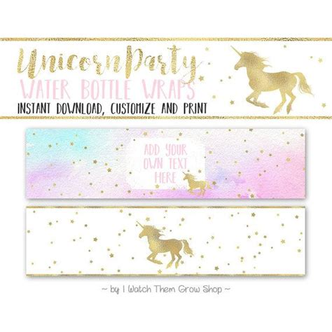 printable unicorn labels unicorn party water bottle wrappers editable printable