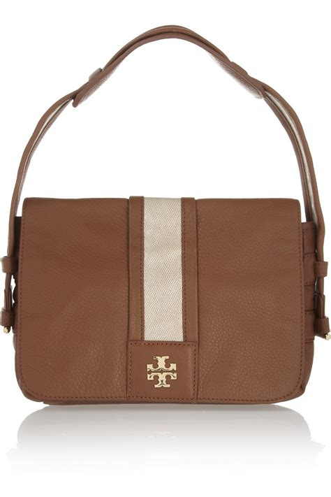 burch leather bag burch patty leather shoulder bag in brown sand lyst