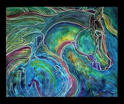 design batik abstract emerald eye equine abstract batik painting by marcia baldwin