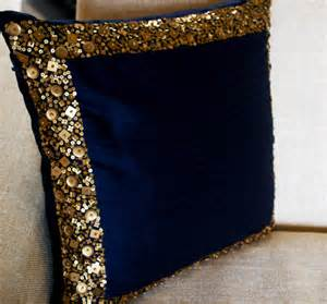 Navy And Gold Throw Pillows Throw Pillows Navy Blue Cushion With Gold Sequin By
