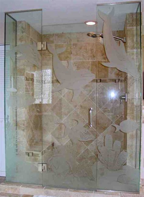 etched glass shower doors decor ideas
