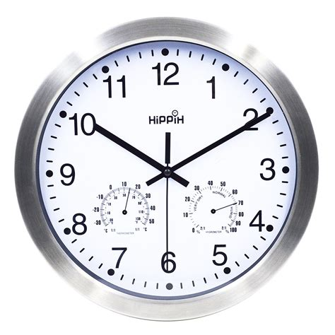 amazon com hippih silent wall clock wood non ticking digital quiet hippih 12 inch silent non ticking wall clock metal frame