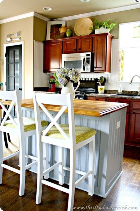 beadboard kitchen island our kitchen then and now from thrifty decor