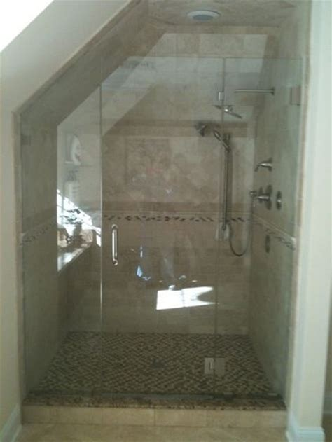 narrow shower door small narrow bath with slanted ceiling frameless shower