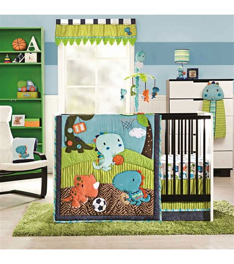 Kidsline Dino Sports 4 Piece Crib Bedding Set Baseball Nursery Bedding Sets