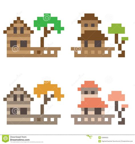 Small Cute House Plans illustration pixel art icon house stock vector image