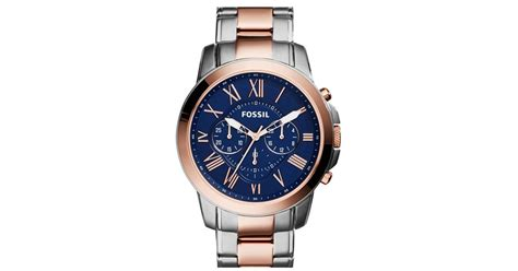 Fossil Chrono Stopwatch Silver Chain lyst fossil grant chronograph bracelet in blue for