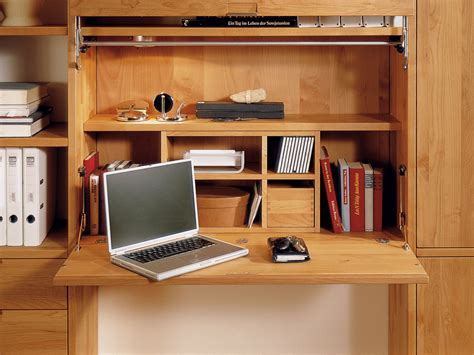 wood bookcase with integrated folding desk for study