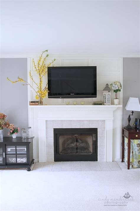 Tv Above Fireplace Mantel by Tv Fireplace And Media Storage Great Room