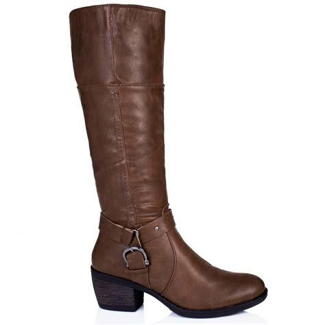 brown leather boots for buy embellish block heel buckle knee high boots