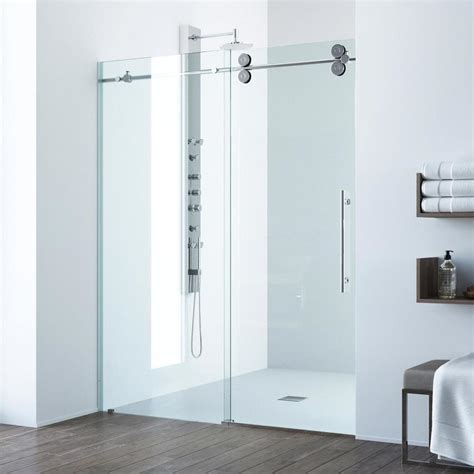 52 Inch Shower Door Shop Vigo Elan 52 In To 56 In Frameless Chrome Sliding Shower Door At Lowes