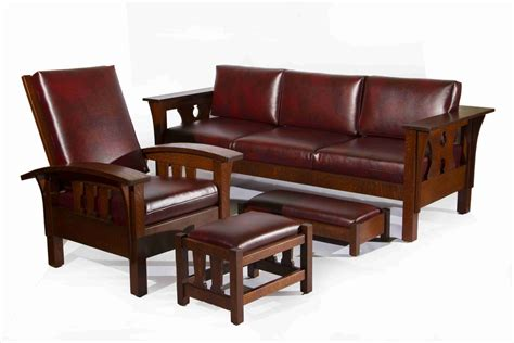 craftsman style couch hand made arts and crafts bow arm morris chair and ottoman