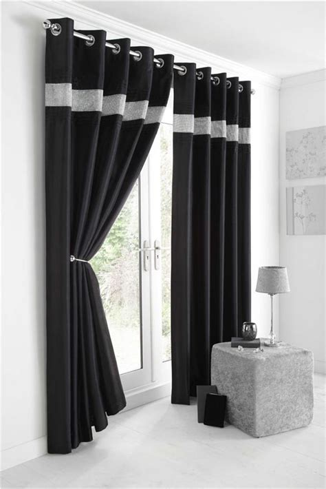black silver curtains new diamante faux silk lined curtains black silver or