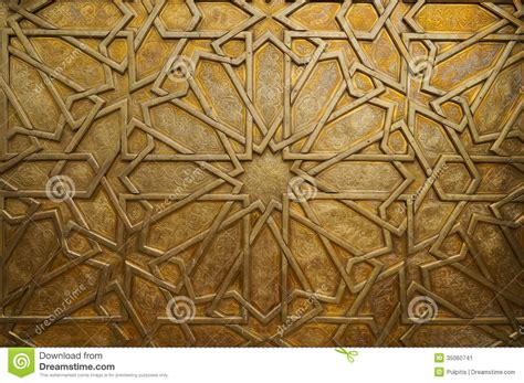 islamic pattern door detail of the brass door at the royal palace in fez