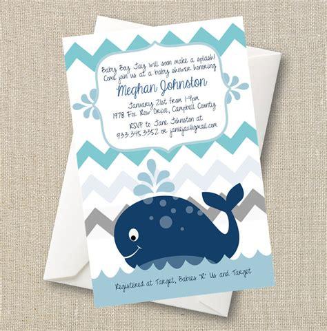 whale baby shower invitations whale baby shower invitation a splash of boy blue chevron
