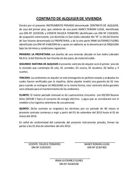 contrato de alquiler peru 2016 contrato de alquiler de vivienda