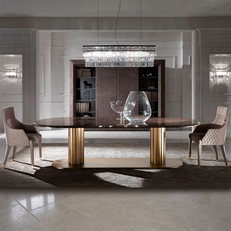 contemporary italian large oval marble dining table and