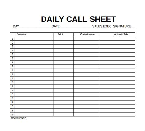 call to template 8 sle call sheet templates free sle exle format