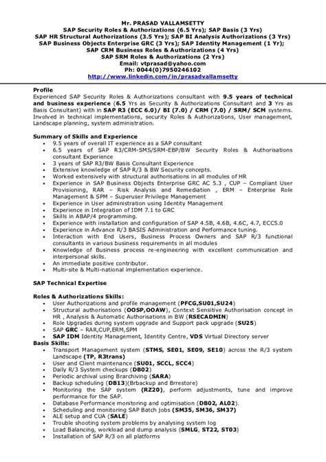 Sap Security Consultant Sle Resume by Tp Security Cv