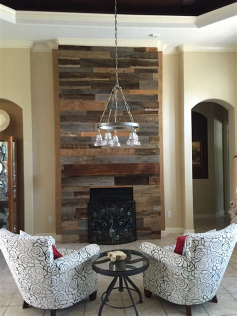 19 best images about wood accent walls on pinterest lynn s reclaimed wood accent wall with custom mantle