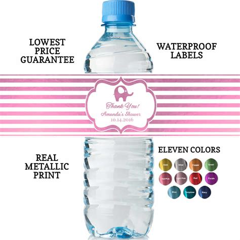 Water Bottle Baby Shower Labels by Water Bottle Labels Baby Shower Real Metallic Print