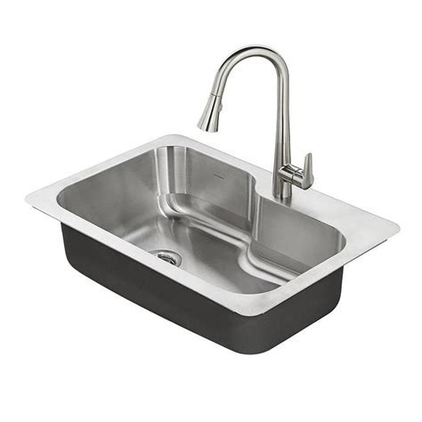 drop in stainless steel kitchen sinks shop american standard raleigh 33 in x 22 in single basin