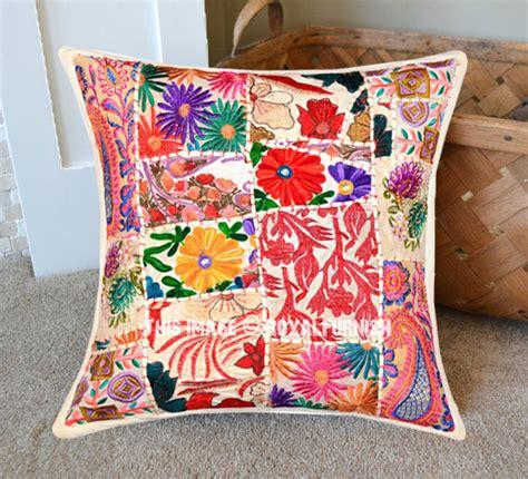 boho pillows white 18x18 decorative and boho accent cotton throw pillow