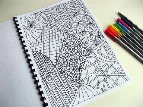 pattern drawing easy printable coloring page zentangle inspired abstract art