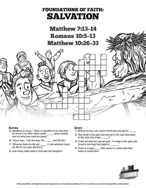 printable quiz on salvation matthew 7 plan of salvation sunday school crossword