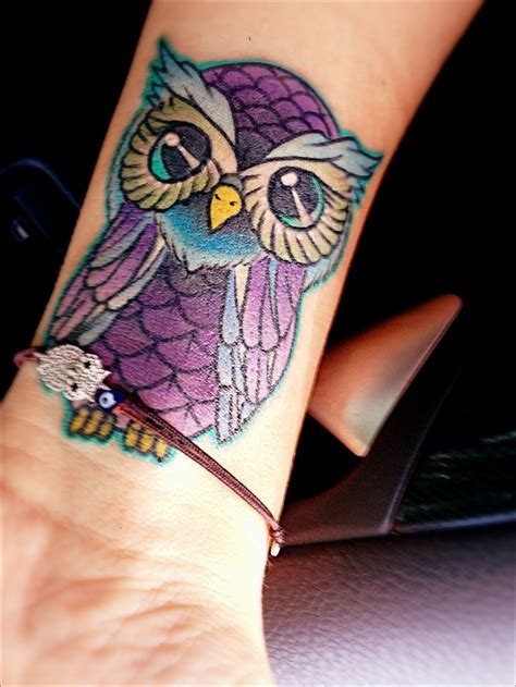 tattoo owl love love the owl smaller and more blue and green for my boys
