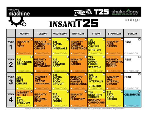Calendario Insanity Insanity T25 Hybrid Insanit25 Workout Review Calendar
