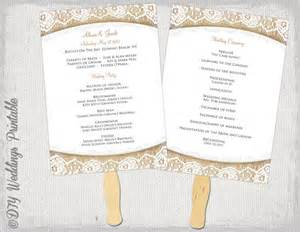 Fan Wedding Programs Template by Wedding Program Fan Template Rustic Burlap Lace