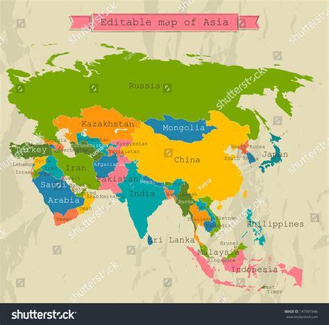 editable asia map  countries vector stock vector