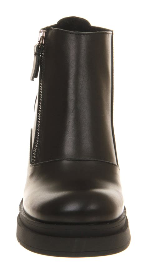 Side Zip Chunky Heel Ankle Boots office chunky heel side zip black leather ankle boots
