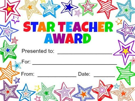 printable star awards free best teacher award coloring pages