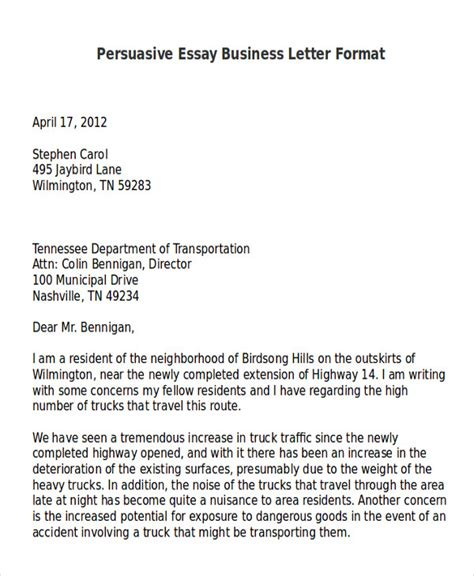 Business Letter Essay by Sle Persuasive Business Letter 7 Exles In Word Pdf