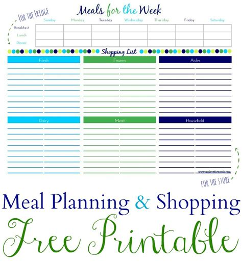 free printable grocery list and meal planner meal plan shopping list printable