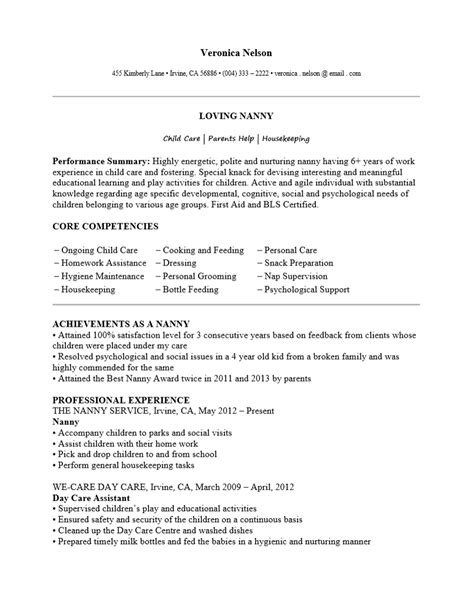 Sle Of Nanny Resume exle nanny resume exles of resumes