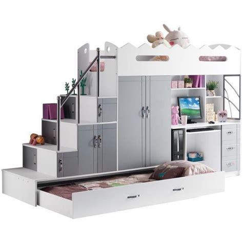 Ordinaire Lit Sureleve Avec Bureau #4: lit-mezzanine-multifonction-coloris-blanc-et-gris.jpg