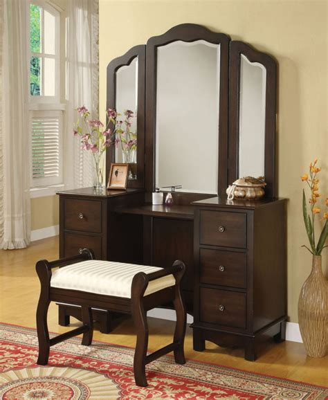 vanity furniture bedroom acme 06552 3 pcs espresso makeup vanity set with tri fold mirror traditional bedroom